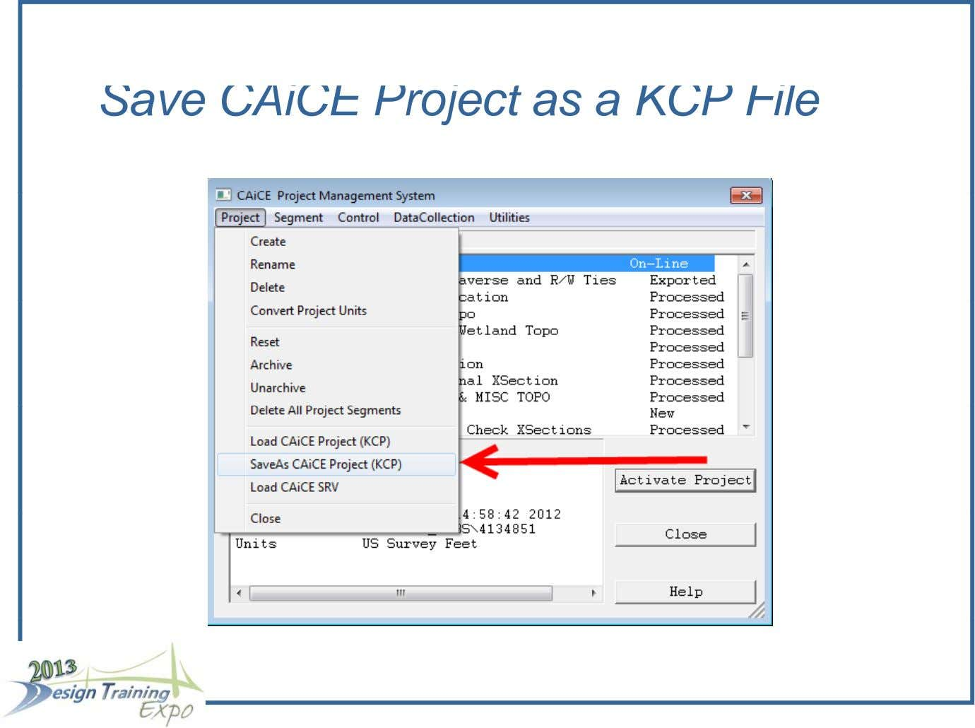 Save CAiCE Project as a KCP File