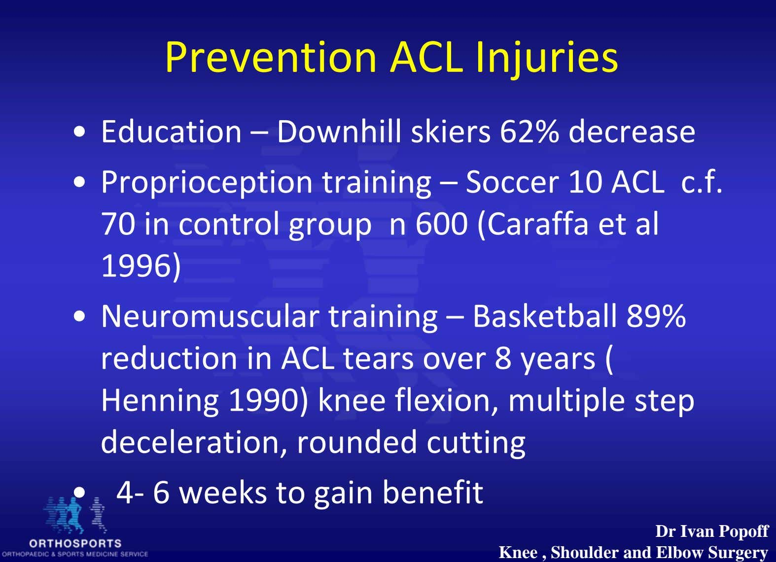 Prevention ACL Injuries • Education – Downhill skiers 62% decrease • Proprioception training – Socce