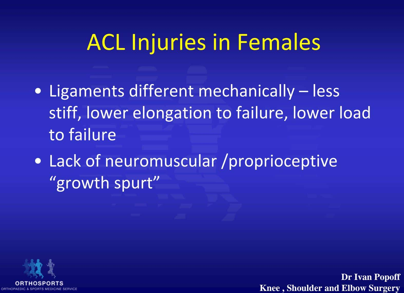 ACL Injuries in Females • Ligaments different mechanically – less stiff, lower elongation to failure,