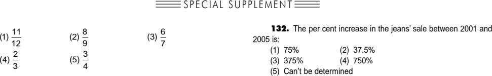 SPECIAL SUPPLEMENT 132. The per cent increase in the jeans' sale between 2001 and 11