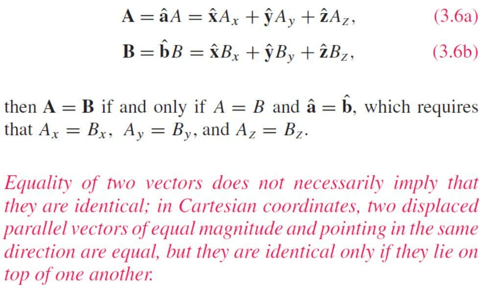Properties of Vector Operations Equality of Two Vectors