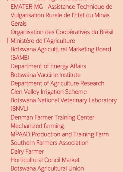 and training farm southern farmers association dairy farmer horticultural concil Market Botswana agricultural union