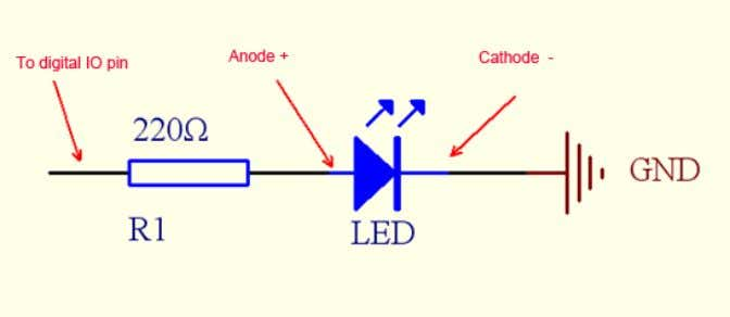 "The wiring of LED the another one is Cathode ("" --"") . The next component we"