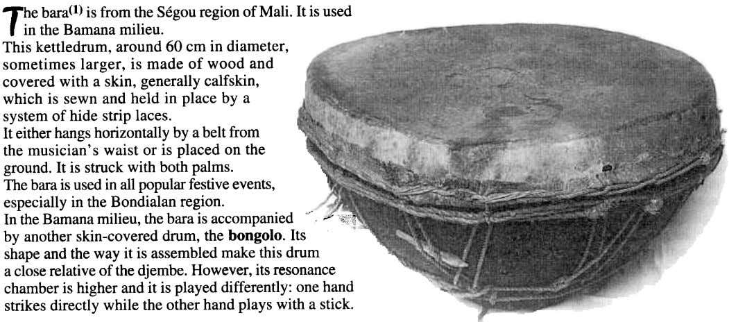 The bara(l)is fromtheSegouregionof Mali. It is used , in the Bamanamilieu. This kettledrum, around 60