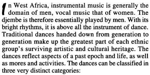 , n West Africa, instrumental music is generally the domain of men, vocal music that