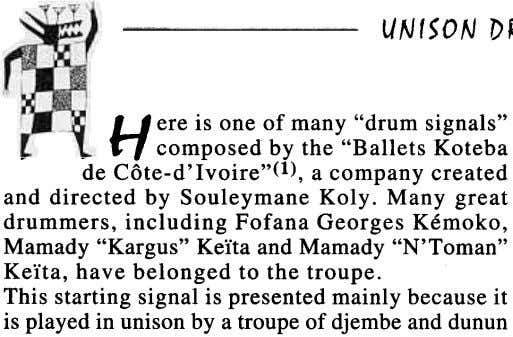 "U ere is one of many ""drum signals"" ~ - n composed by the ""Ballets"