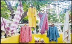 the yarn hand spun by skilled khadi workers and coloured women and men from economically and