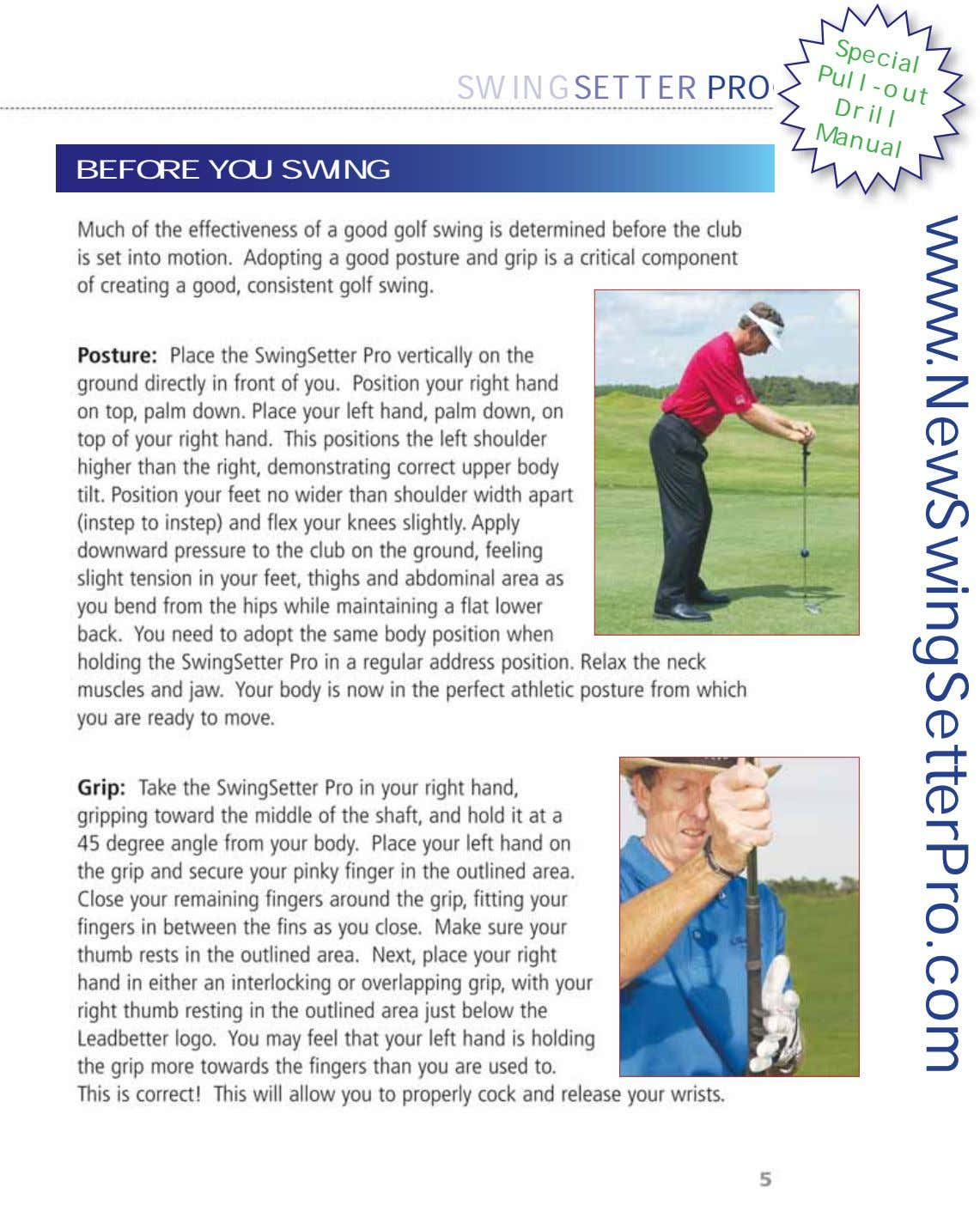 Special Pull-out Drill Manual SWINGSETTER PRO BEFORE YOU SWING www.NewSwingSetterPro.com