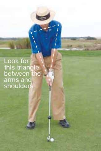 Look for this triangle between the arms and shoulders
