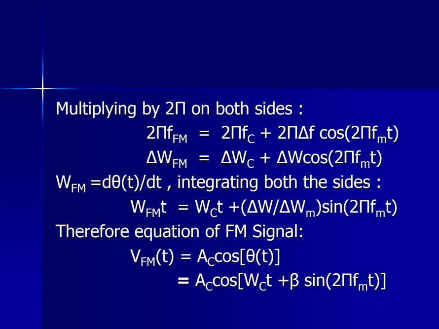 MultiplyingMultiplying byby 22ΠΠ onon bothboth sidessides :: 22ΠΠff FMFM == 22ΠΠff CC ++ 22Π∆Π∆ff