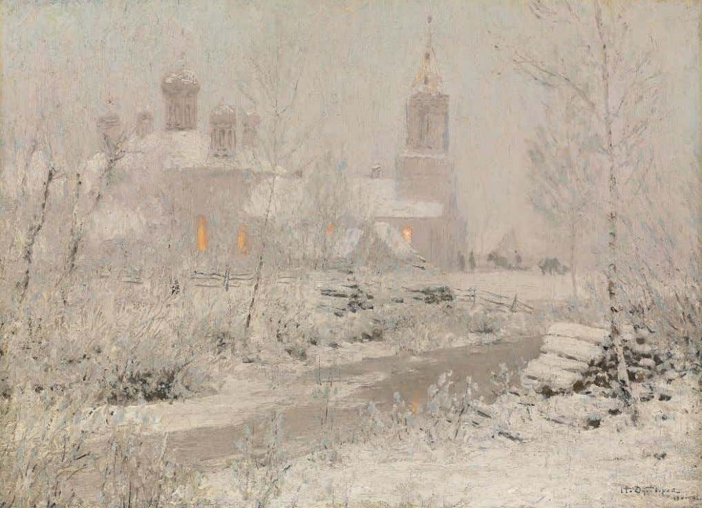 5 NIKOLAI DUBOVSKOI (1859-1918) Winter evening signed in Cyrillic and dated 'N. Dubovskoi/1901-06.' (lower right)