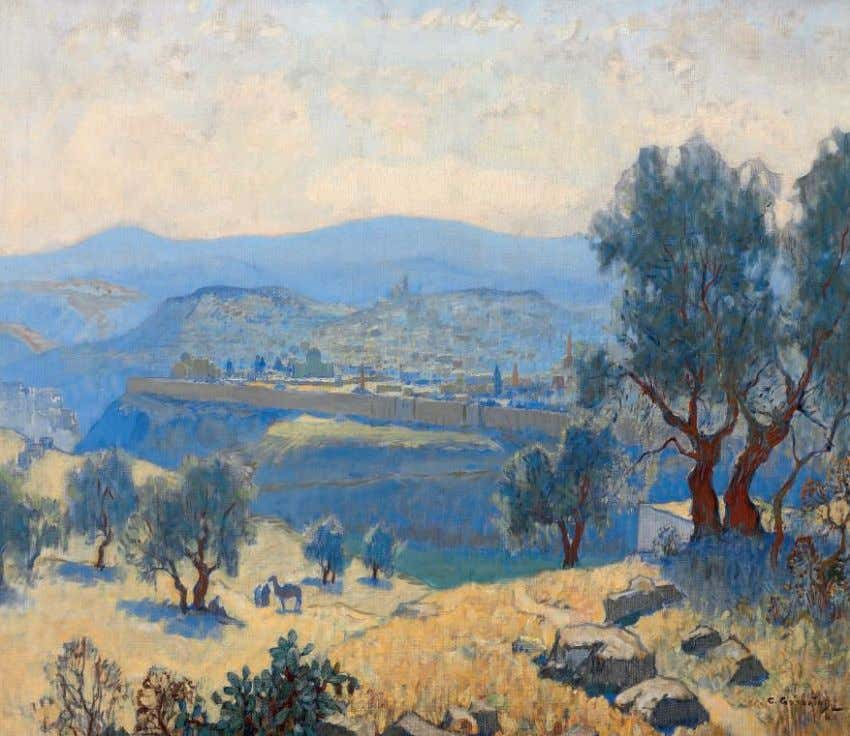 *6 KONSTANTIN GORBATOV (1876-1945) Jerusalem signed 'C. Gorbatoff' (lower right); further signed and inscribed with