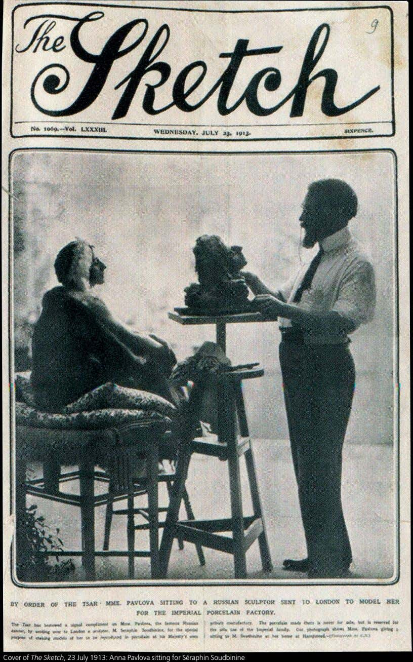 Cover of The Sketch, 23 July 1913: Anna Pavlova sitting for Séraphin Soudbinine