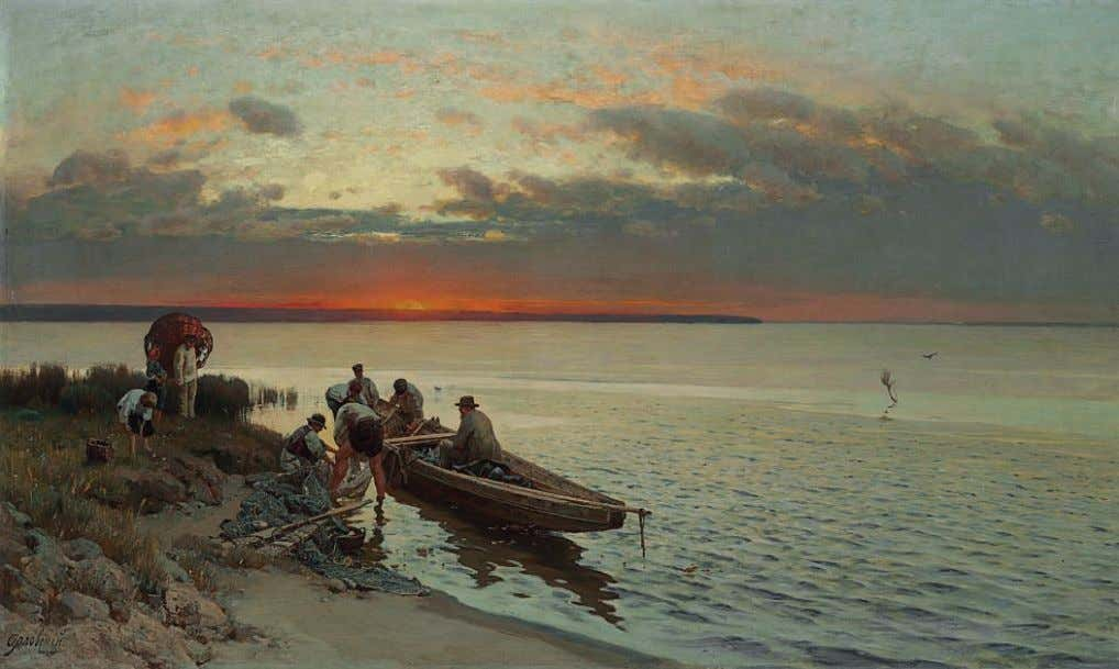 PROPERTY OF A PRIVATE AMERICAN COLLECTOR *22 VLADIMIR ORLOVSKY (1842-1914) Preparing the nets signed in