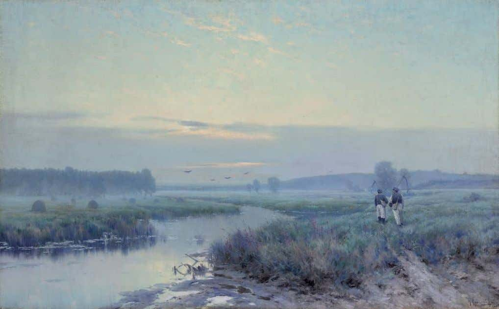 PROPERTY FROM A PRIVATE AUSTRALIAN COLLECTION *23 KONSTANTIN KRYZHITSKY (1858-1911) Early morning in the felds