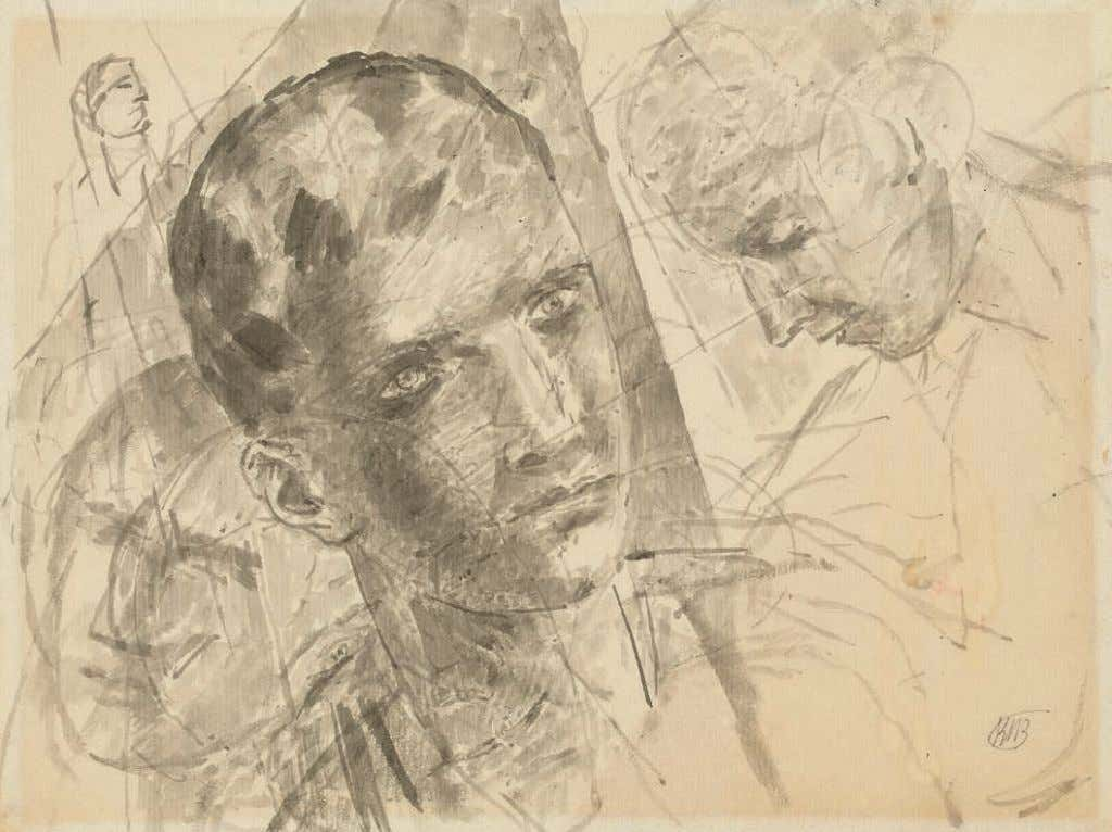 *32 KUZMA PETROV-VODKIN (1878-1939) Head studies signed with the artist's monogram (lower right); further signed