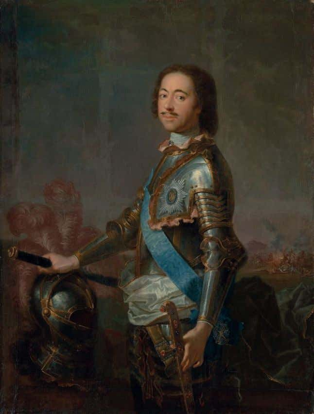 35 AFTER JEAN-MARC NATTIER Portrait of Peter the Great (1672-1725), three-quarter-length, in armour, his right