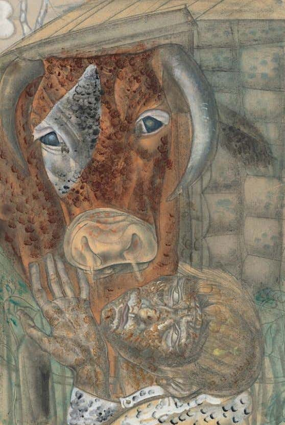 PROPERTY FROM AN IMPORTANT PRIVATE COLLECTION 45 BORIS GRIGORIEV (1886-1939) Peasant boy and a cow