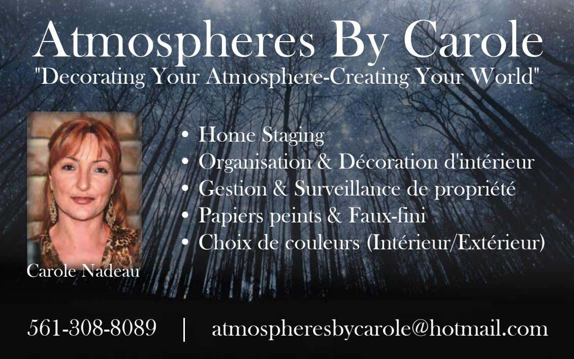 "Atmospheres By Carole ""Decorating Your Atmosphere-Creating Your World"" • Home Staging • Organisation &"
