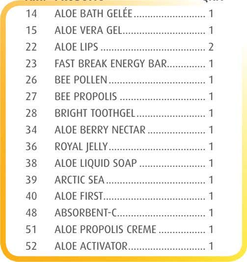 14 ALOE BATH GELÉE .......................... 1 15 ALOE VERA GEL .............................. 1 22 ALOE LIPS ......................................