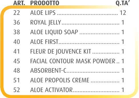 ART. PRODOTTO Q.TA' 22 ALOE LIPS ...................................... 12 36 ROYAL JELLY .................................... 1 38 ALOE LIQUID