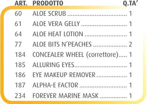 ART. PRODOTTO Q.TA' 60 ALOE SCRUB ................................... 1 61 ALOE VERA GELLY ........................... 1 64 ALOE