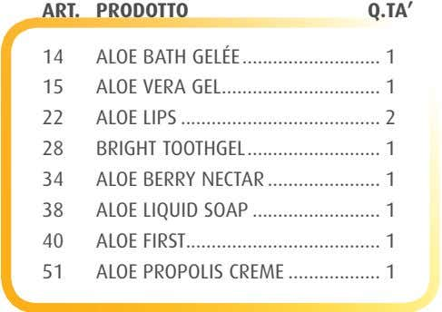 ART. PRODOTTO Q.TA' 14 ALOE BATH GELÉE 1 15 ALOE VERA GEL 1 22 ALOE LIPS