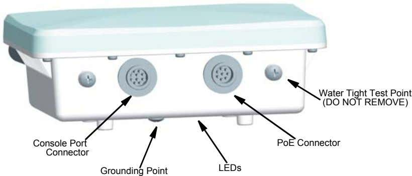 Water Tight Test Point (DO NOT REMOVE) Console Port PoE Connector Connector LEDs Grounding Point