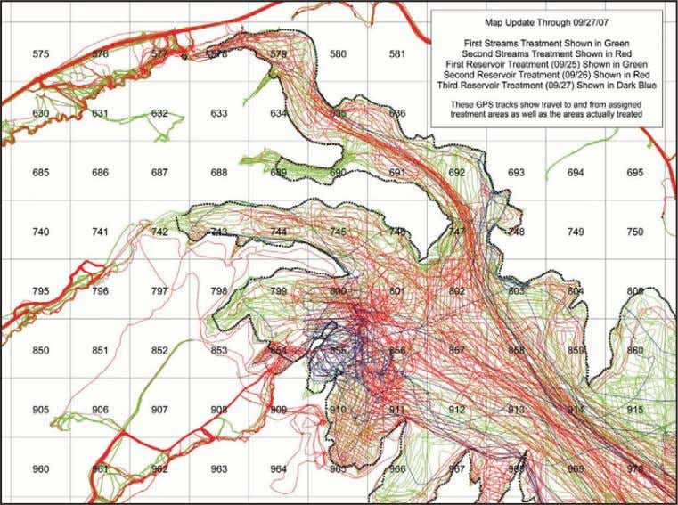 A section of a combined reservoir and stream treatment status map. GPS tracks within the
