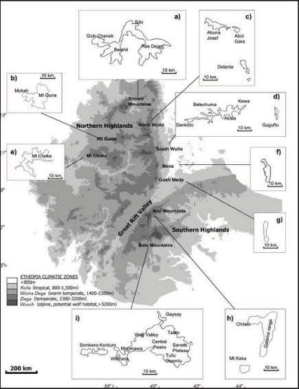 species. There were rabies outbreaks in Ethiopian wolves in Afro-alpine ranges and remaining wolf habitats in