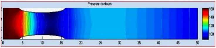 Mesh of the Geometry (b) Velocity Distribution and Contours (c) Pressure Contours (d) Shear Stress Contours