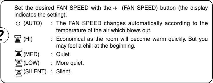 Set the desired FAN SPEED with the (FAN SPEED) button (the display indicates the setting).
