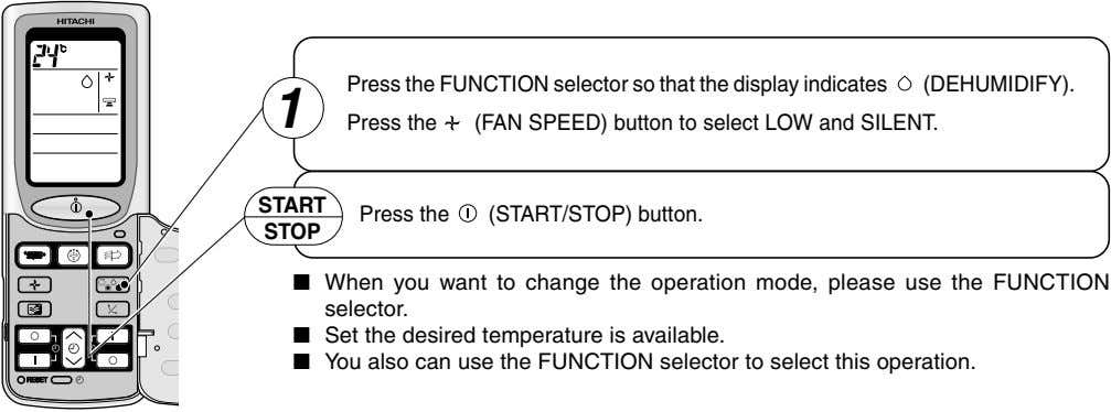 Press the FUNCTION selector so that the display indicates (DEHUMIDIFY). 1 Press the (FAN SPEED)