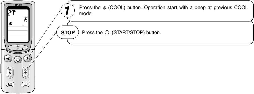 Press the (COOL) button. Operation start with a beep at previous COOL 1 mode. STOP