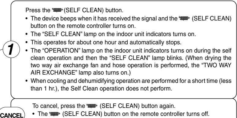 Press the (SELF CLEAN) button. • The device beeps when it has received the signal