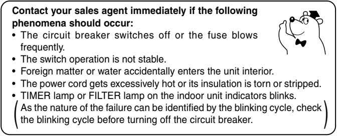 Contact your sales agent immediately if the following phenomena should occur: • The circuit breaker