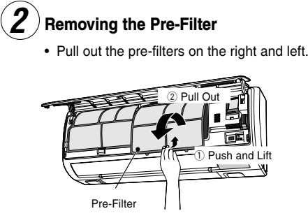 Removing the Pre-Filter • Pull out the pre-filters on the right and left. 2 Pull
