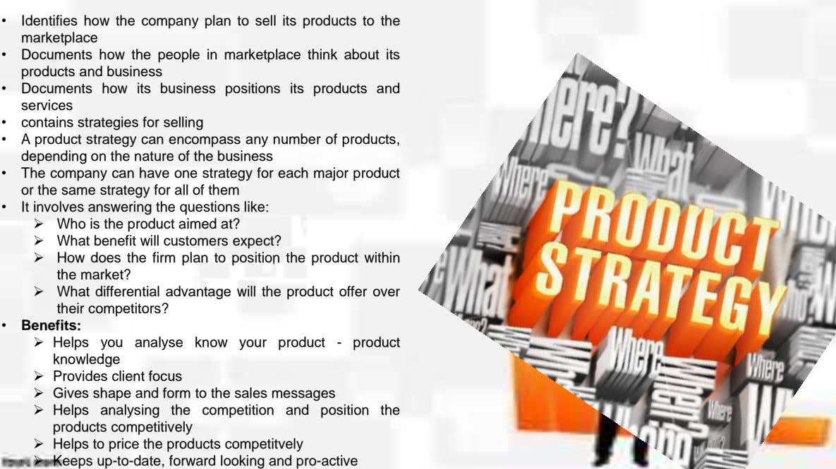• Identifies how the company plan to sell its products to the marketplace • Documents how