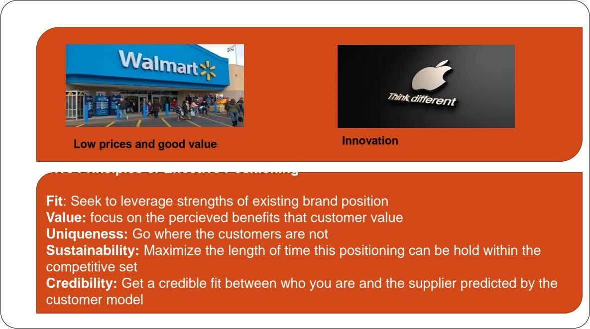 Innovation Low prices and good value Five Principles of Effective Positioning Fit: Seek to leverage strengths