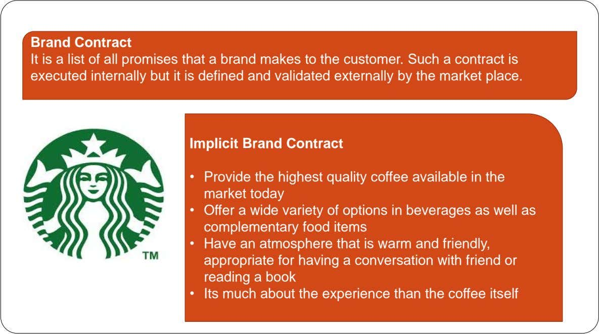 Brand Contract It is a list of all promises that a brand makes to the customer.