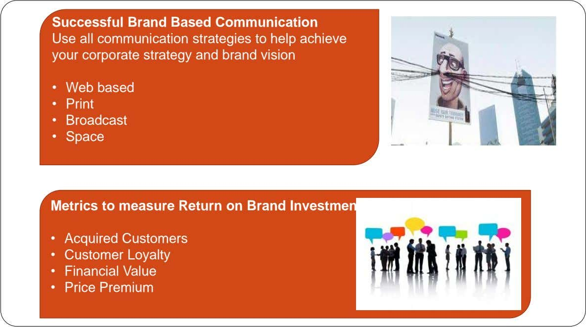 Successful Brand Based Communication Use all communication strategies to help achieve your corporate strategy and brand