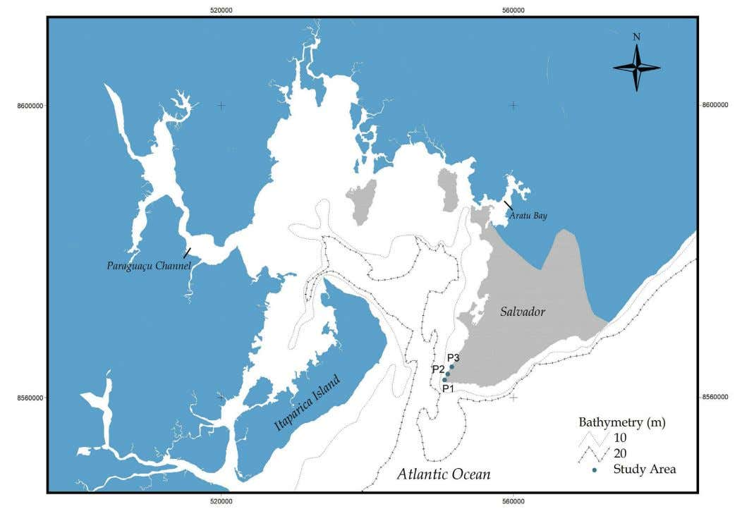 of Integrated Coastal Zone Management 11(1):135-143 (2011) Figura 1. Mapa da área de estudo e marcações