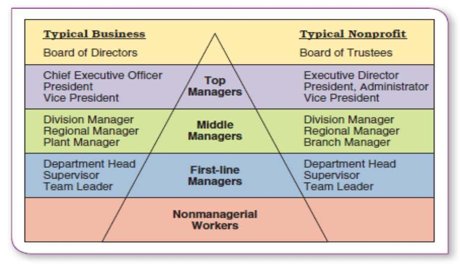 Figure 1.3 Management levels in a typical business and non-profit organizations