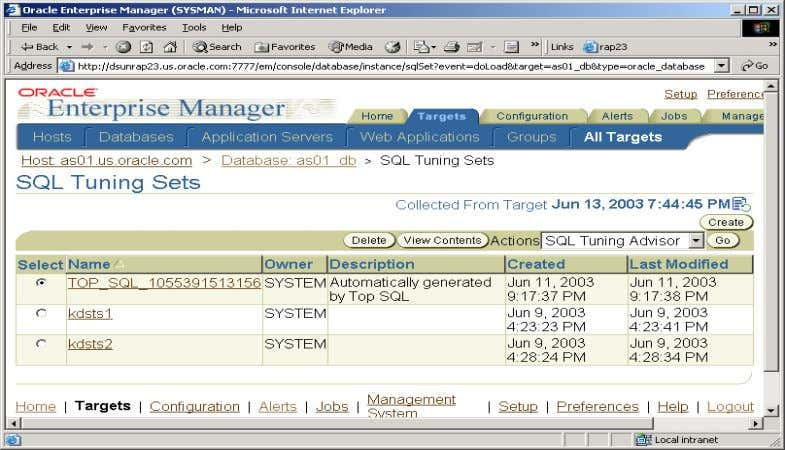 Figure 8: SQL Tuning Sets Tuning Options Once the SQL Tuning Advisor is launched, the