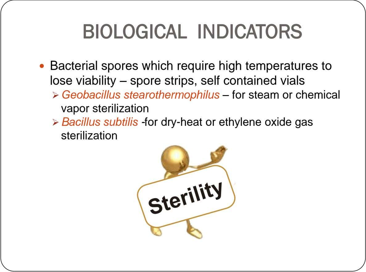 BIOLOGICAL INDICATORS  Bacterial spores which require high temperatures to lose viability – spore strips, self