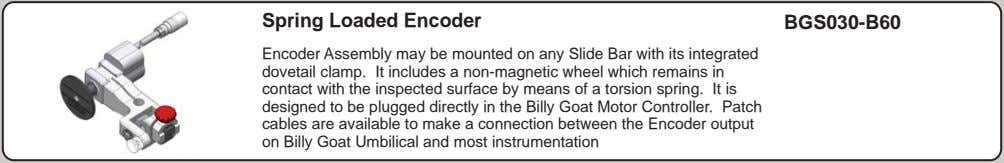 Spring Loaded Encoder BGS030-B60 Encoder Assembly may be mounted on any Slide Bar with its