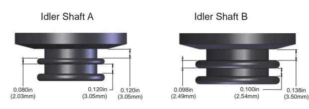 Idler Shaft A Idler Shaft B 0.080in 0.120in 0.120in 0.098in 0.100in 0.138in (2.03mm) (3.05mm) (3.05mm)