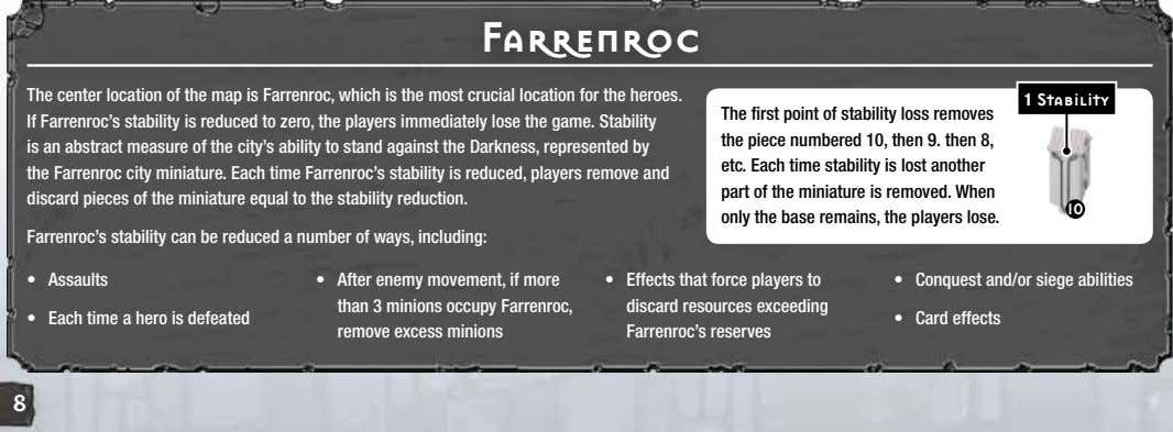 Farrenroc The center location of the map is Farrenroc, which is the most crucial location