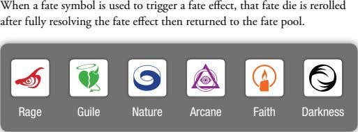 When a fate symbol is used to trigger a fate effect, that fate die is