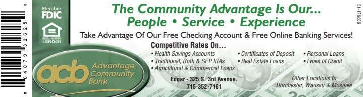 51-176886 The Community Advantage Is Our People • Service • Experience Take Advantage Of Our